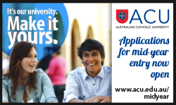 Australian Catholic University- midyear applications now open