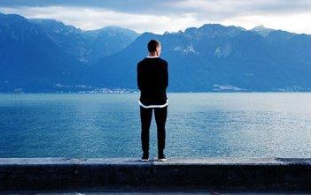 solitude water man contemplate