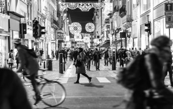 Busy Street in Black and White