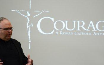 Fr Philip Bochanski of Courage International speaking in Hobart