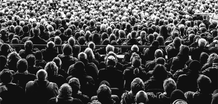Crowd of People in Black & White
