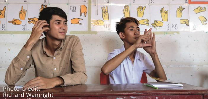 Students of the Deaf Development Program learning Cambodian sign language.Students of the Deaf Development Program learning Cambodian sign language. Photo Richard Wainwright